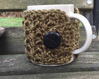 Crochet mug cozy button wrap in moss