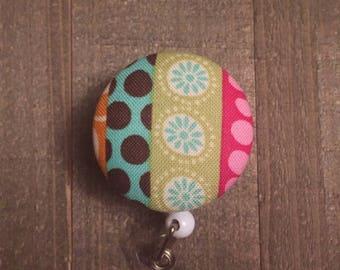 Green, Orange, Aqua, Pink Flower Badge Reel -  polka dots - stripes - Floral - ID Badge Holder - Name Badge - Nurse Badge - RN Badge
