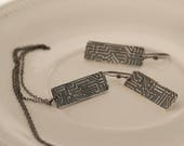 Custom order for mcdevey: Bright Silver Circuit Board Necklace And Earring Set In Fine Silver