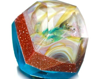 Button ~ Frosted Aqua Blue Base, Goldstone, Paperweight Top, 3-Laminated, 8-Sided. Hand-Faceted - Made By KPHoppe - Medium
