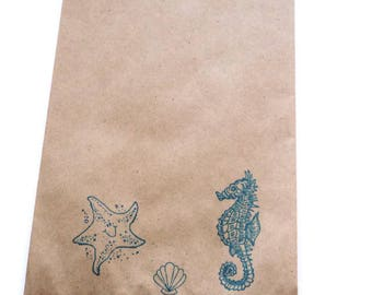 """10 Paper Bags,Gift Bags, Beach Theme Stamped in Blue, Seahorse Shell Starfish, Brown Kraft, 7.5"""" x 5"""", Packaging Supplies, Party Favor Bags"""