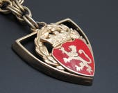 Heraldic Pendant Vintage Shield Heavy Chain Necklace N8519