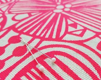 Organic Screenprinted Fabric: Flowers in Neon Pink
