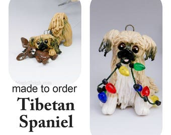 Tibetan Spaniel Dog Made to Order Christmas Ornament Figurine in Porcelain