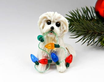 Havanese White Christmas Ornament Figurine Lights Porcelain