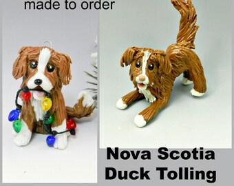 Nova Scotia Duck Tolling Retriever Made to Order Christmas Ornament Figurine in Porcelain