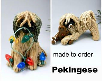 Pekingese Dog Made to Order Christmas Ornament Figurine in Porcelain