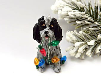 English Cocker Spaniel Blue Roan Christmas Ornament Figurine Porcelain