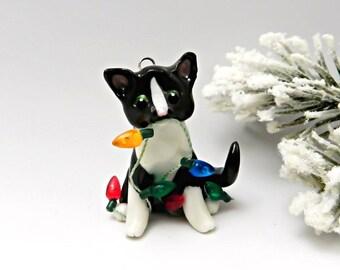 Cat Black White Tuxedo Christmas Ornament Figurine Lights Porcelain