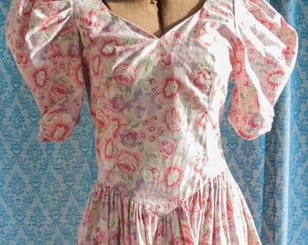 Vintage Floral Dress - Bridesmaid Prom Party 80s Big Bow