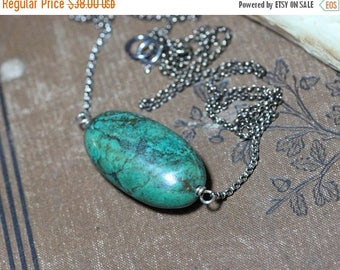 SALE Turquoise Necklace Sterling Silver Big Turquoise Gemstone Bead Pendant Luxe Boho Rustic Jewelry