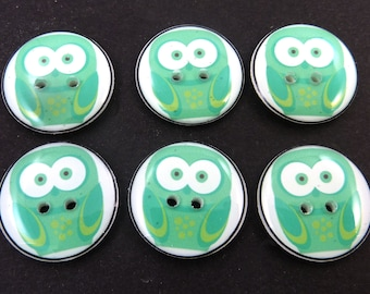 6 Greenish Blue Owl Sewing Buttons.  Handmade Buttons.