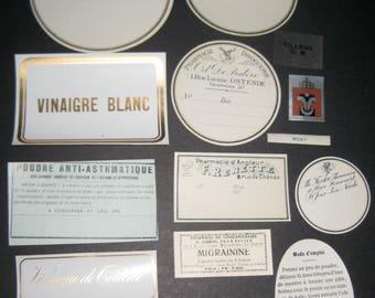12 Antique French  Drug Store Pharmacy Labels