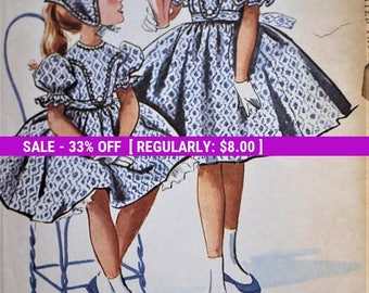1958 McCall's sewing pattern #4464 in size 10; Designed by Helen Lee; One-piece dress with plastron, petticoat and babushka - COMPLETE
