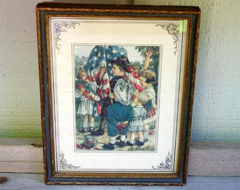 Vintage Framed Print American Flag Patriotic Children