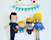 Wall Hanging Family of Four Personalized Made to Order