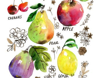 Inky Fruits Archival Print