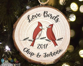 Love birds personalized cut pine wood Christmas ornament - great gift for newly engaged or married couple MWO-013