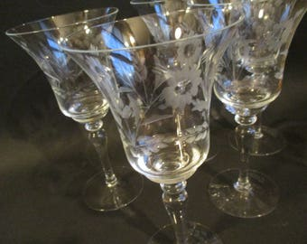 Vintage Six Etched Wine Glasses with Flowers