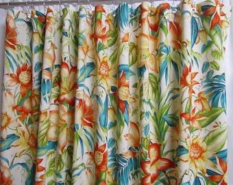 exotic floral shower curtain botanical shower curtain tropical shower curtain designer shower curtain
