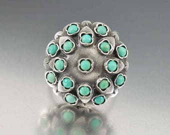 French Antique Turquoise Ring | Victorian Ring | Silver Dome Ring | Antique Ring | Statement Ring | Persian Turquoise | December Birthstone