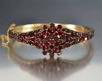 Victorian Bohemian Garnet Bracelet | Antique Garnet Bangle Bracelet | Rose Cut Starburst Garnet Cuff | Hinged January Birthstone Bracelet