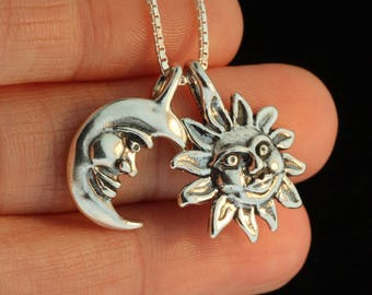 Sun and Moon Necklace Silver Eclipse Pendant Eclipse Necklace Sun Jewelry Moon Jewelry Celestial Jewelry Celestial Necklace Silver Moon