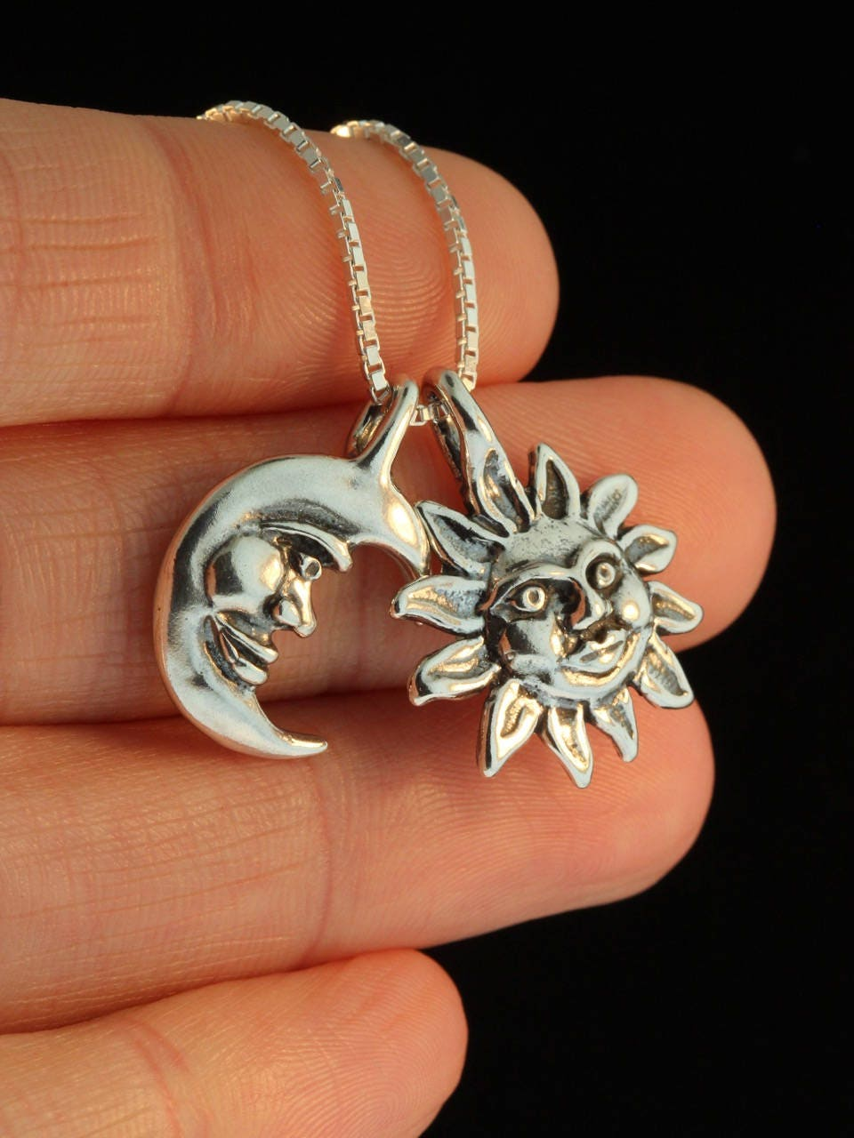 Sun and Moon Necklace Silver Eclipse Pendant Eclipse Necklace