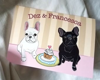 French Bulldogs in Love Greeting Card - Black and White - Customized with Your Names