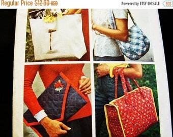 SALE 25% Off 1970s Purse Pattern, Tote Bag Pattern, Shoulder Bag Pattern, Clutch Purse Pattern, Vintage Pattern