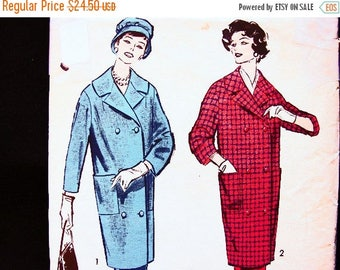 on SALE 25% Off Vintage Sewing Pattern 1950s size 12 Advance Pattern Womens Suit, Knee Length Shawl Collar Coat with Skirt Pattern UNCUT