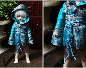 ABJD TG LTF and YoSD Vintage Blue hooded traveling coat and obi