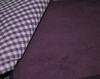 40 pack of 5 Inch Squares Purple Gingham and Deep Purple Mini Corduroy Quilt Stash