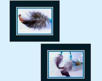CIJ SALE Grey Feathers Photos, Boho Feather Art, Feathers Wall Art, Feathers Art Prints, Two Feathers Photos, Feathers with Beads, Wall Art