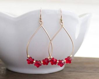 Simple Flower Lei Earrings, Handmade, Dainty, Dangle, Hoop, 14k Gold Filled, Simply Me Jewelry Rose Lei Earrings, SMJER808