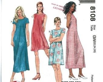 OOP Woman's Easy Summer Dress Sewing Pattern - Sizes: 22 -24 -26, McCall's 8108 Sewing Pattern -1 hour dress, 1990's UNCUT Out of Print