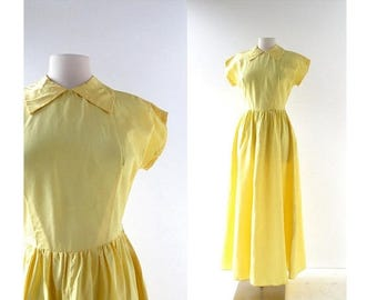 20% off sale Vintage 1940s Gown | Yellow Taffeta Dress | 40s Dress | XS