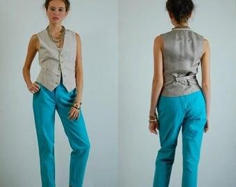 SALE 25% off sundays Preppy Waistcoat Vintage 70s Beige Linen Preppy Menswear Androgynous Button Up Vest Waistcoat (s m)