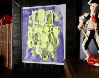 CAMEOS #074   unique handmade silkscreen print in neon yellow and fluorescent purple (8x10)