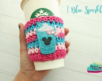 Coffee Cup cozy { Blue Sparkle } Minnie frappe, pink glitter, Summer Coffee frappuccino sleeve, bubblegum wall birthday gift