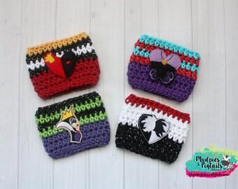 Villian Crochet Cup Cozy { Bad Girls } Queen of Hearts, Cruella, Evil Queen, summer coffee, cup sleeve tea sleeve, mug starbucks, crochet