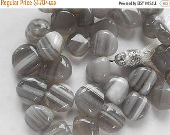 SALE Gray Angelite Banded Gemstone Briolette. Semi Precious Gemstone Bead. Smooth Heart Briolette, 12x12x6mm. Your Choice (51ang)