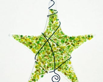 Glassworks Northwest - Sprinkle Star Green - Fused Glass Suncatcher or Ornament