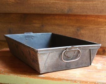 Vintage Metal CONTAINER with Handles Rustic Primitive Decor- Industrial Style Farmhouse- Primitive Tray- Weathered Patina