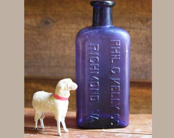 Large PURPLE Bottle -Phil C Kelly Co. Richmond, VA- Whiskey Distillers- Dark Purple Bottle- Antique Bottle- R20