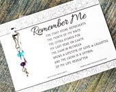 Remember Me - Memorial Gift Featuring An Original Poem & Custom Handmade Birthstone Remembrance Charm - (Shown With Mini Shiny Silver Cross)