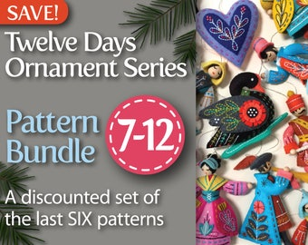 Twelve Days Series 7-12 PDF Pattern Bundle: Swan a-Swimming, Maid a-Milking, Drummer Drumming, Piper Piping, Lady Dancing, & Lord a-Leaping