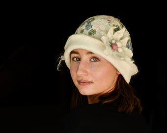 Felt Hat, White Cloche, Wedding Hat, Wool hats, Felt hat for women, unique felt hat,felt wear, Felt Cloche, Millinery Hat, Wearable art