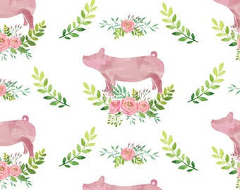 Pink Pigs Fabric - Showstock Roses - Pigs By Thecraftyblackbird - Watercolor Pig Cotton Fabric By The Yard With Spoonflower