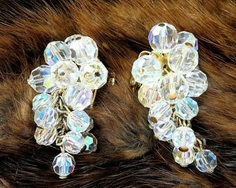 Crystal Waterfall Earrings with Aurora Borealis Crystals Vintage